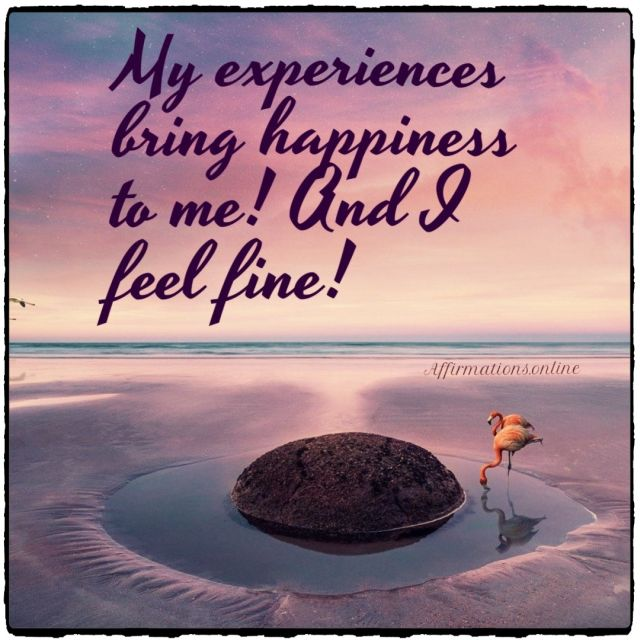 Positive affirmation from Affirmations.online - My experiences bring happiness to me! And I feel fine!