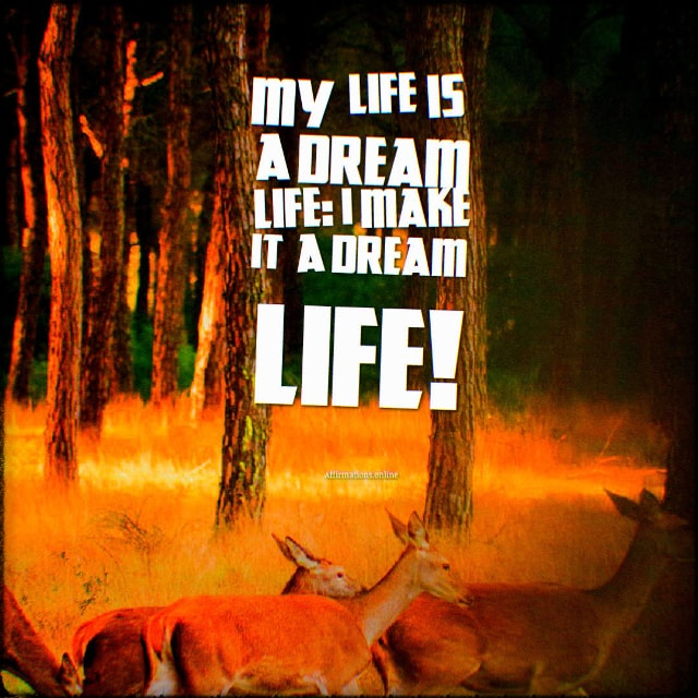 Positive affirmation from Affirmations.online - My life is a dream life: I make it a dream life!
