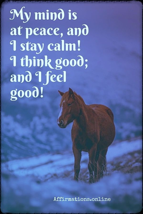 Positive affirmation from Affirmations.online - My mind is at peace, and I stay calm! I think good; and I feel good!