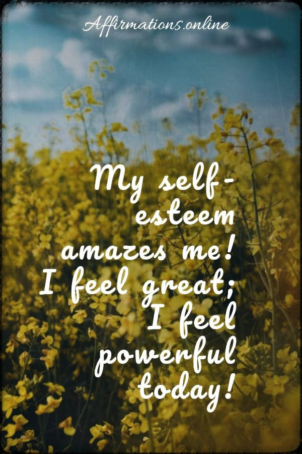 Positive affirmation from Affirmations.online - My self-esteem amazes me! I feel great; I feel powerful today!