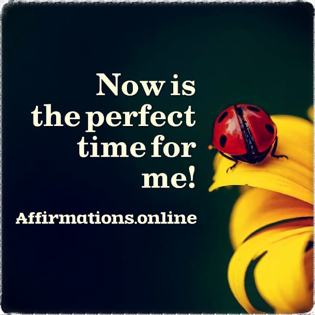 Positive affirmation from Affirmations.online - Now is the perfect time for me!