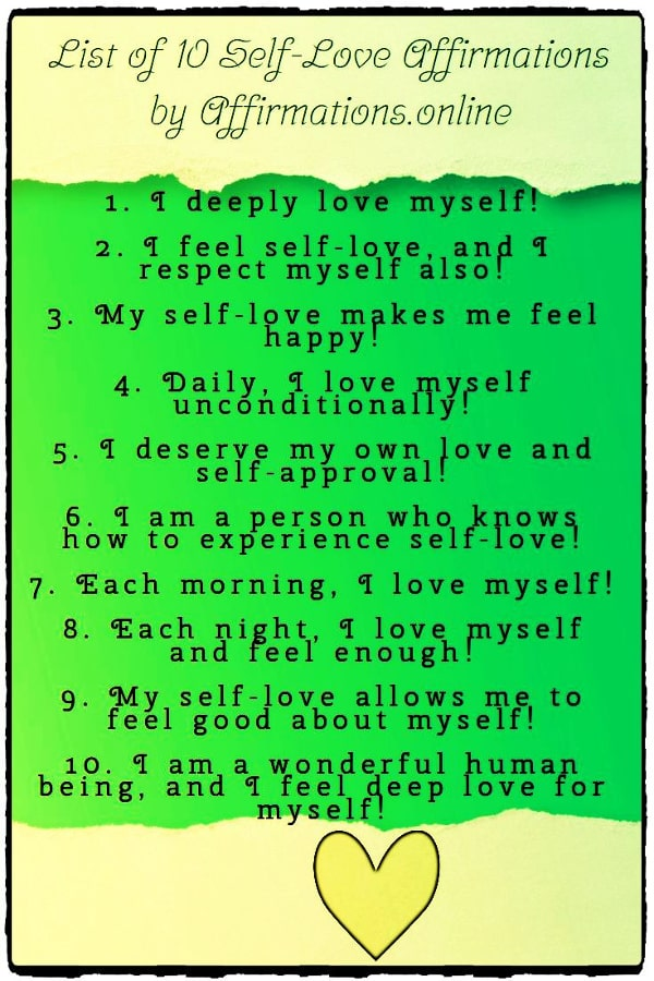 List of Affirmations by Affirmations.online - List of 10 Self-Love Affirmations