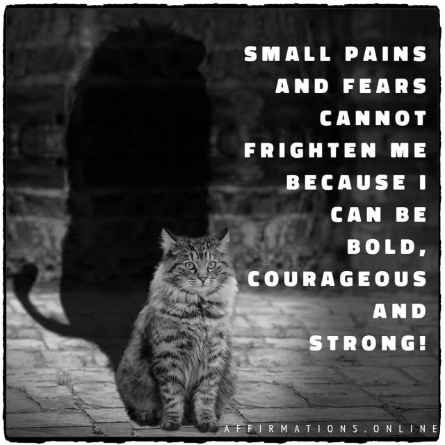 Positive affirmation from Affirmations.online - Small pains and fears cannot frighten me because I can be bold, courageous and strong!